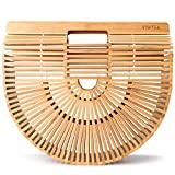 Vintga Bamboo Handbag Handmade Tote Bamboo Purse Straw Beach Bag for Women (Bamboo Large)