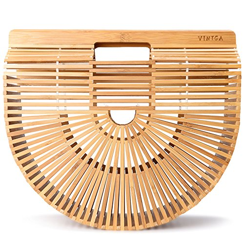 Rattan Purse Handle (Vintga Bamboo Handbag Handmade Tote Bamboo Purse Straw Beach Bag for Women (Bamboo Large))