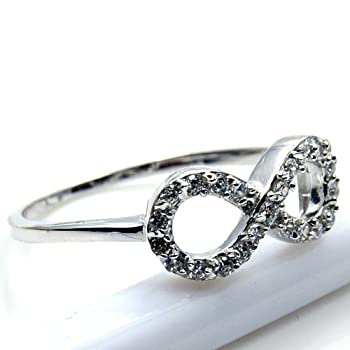 'Infinity' Sterling Silver Cubic Zirconia Ring, Size 7.75