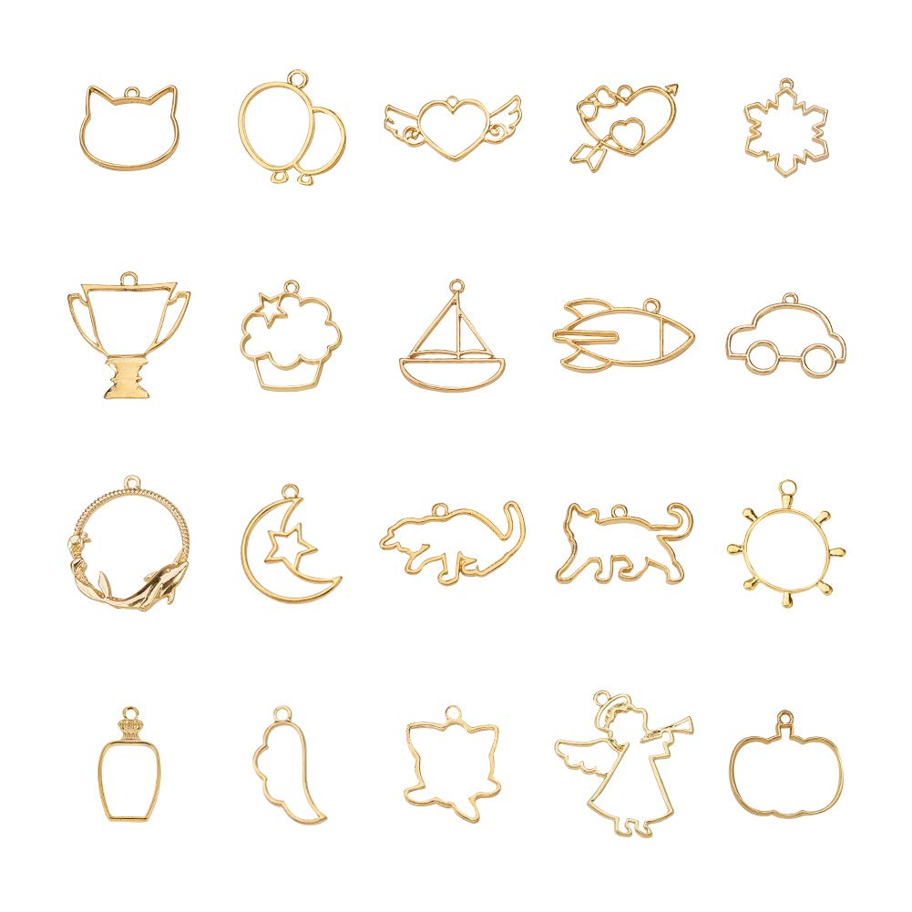 PandaHall Elite 40pcs 20 Assorted Style Golden Alloy Open Back Bezel Charms Blanks Frame Pendan For DIY Resin Jewellery Making