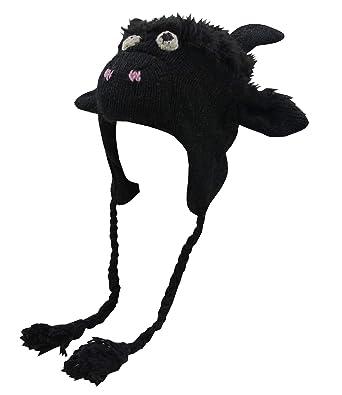 4f6c0829c36 KayJayStyles Nepal Hand Knit Ear Flaps Beanie Ski 100% Wool Fleeced Animal  Hat Cap