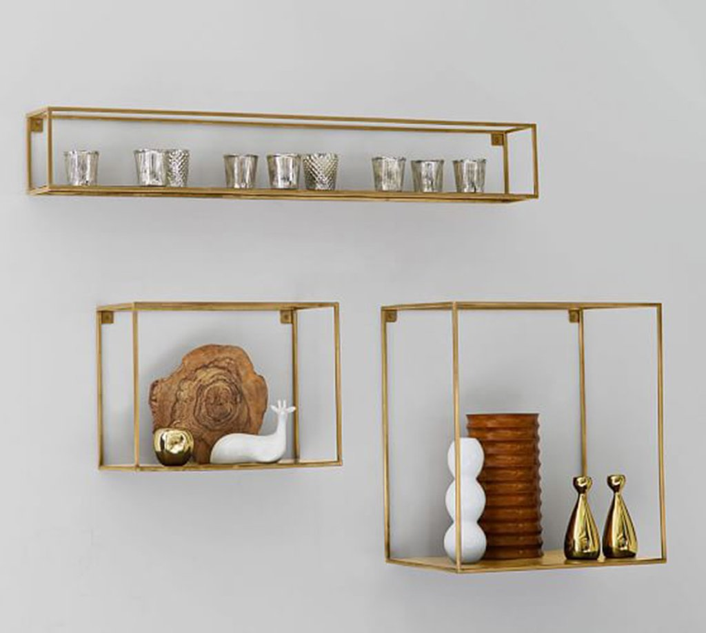 LU-Shelf Wall - mounted Iron Wall Shelf Retro Industrial Wind Simple Living Room Decoration wall Shelves ( Color : Gold , Size : Combination )