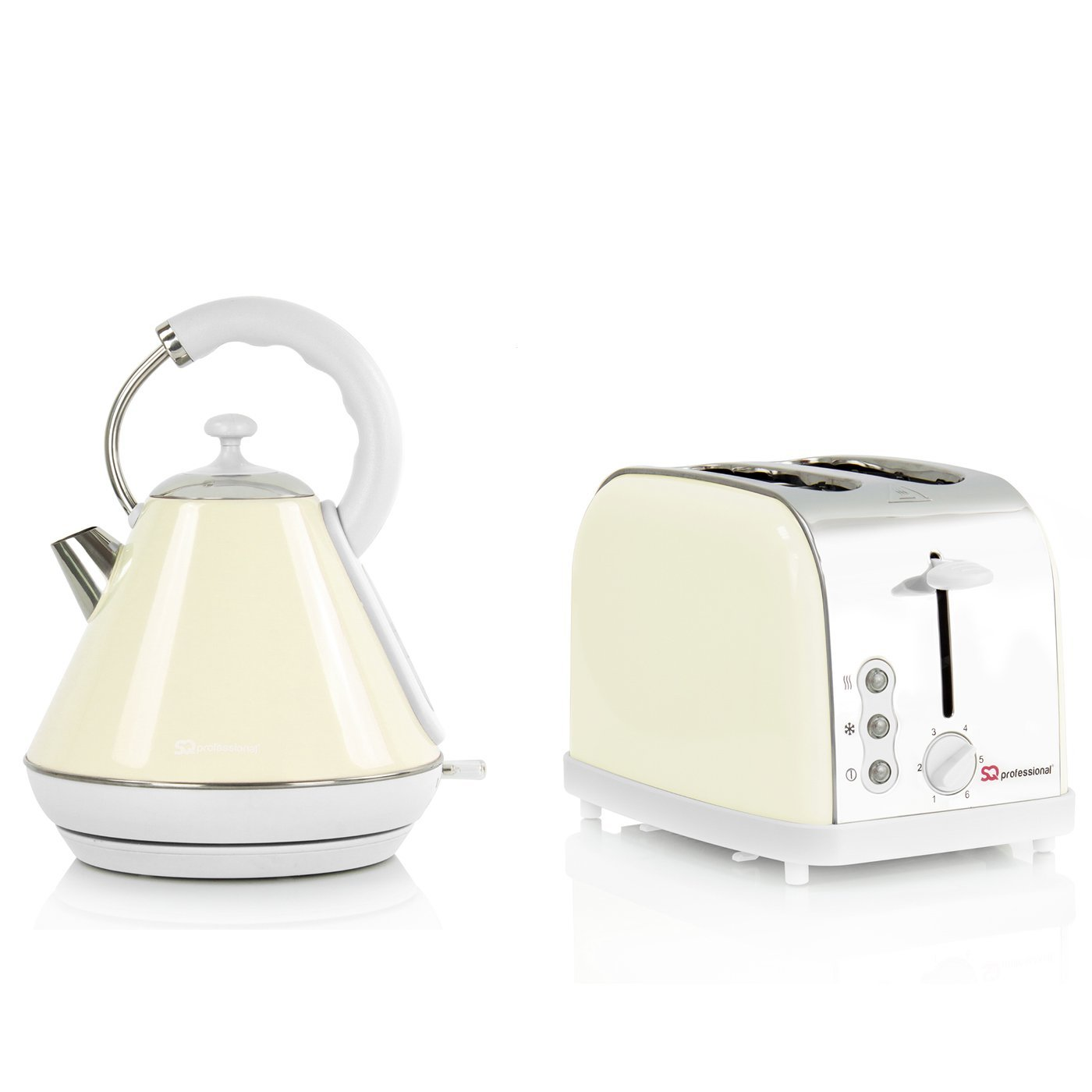 Electric Kettle & Toaster Set, Stainless Steel - Cream SQ Pro