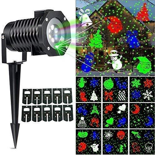 (Ucharge Christmas Laser Light, [Newest Version] Snowflake Led Spotlight Landscape Projector, Multi 10 Slides Sparkling Laser Light Show Indoor Outdoor Rotating Projection Lights - Green)