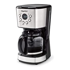 Starfrit 024001-002-0000 12-Cup Electric Drip Coffee Maker,Black/Silver