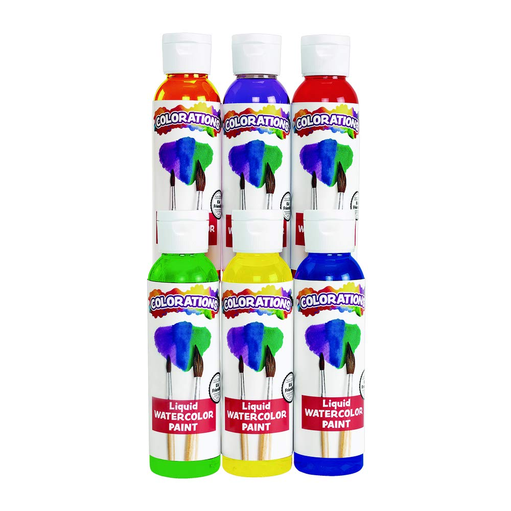 Colorations Liquid Watercolor Paint, 4 fl oz, Set of 6, Non-Toxic, Painting, Kids, Craft, Hobby, Fun, Water Color, Posters, Cool Effects, Versatile, Gift by Colorations
