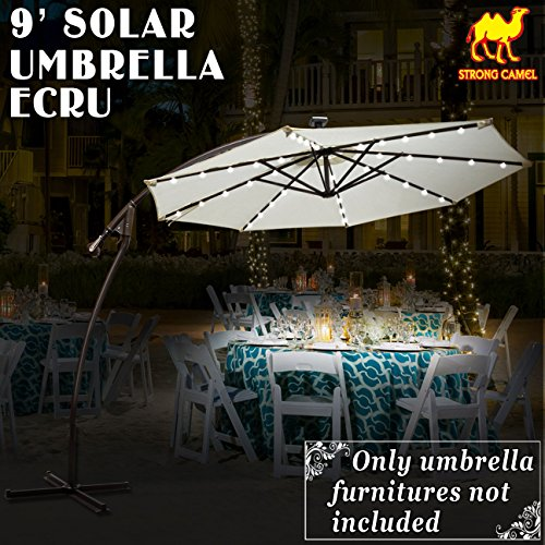 STRONG CAMEL 9' CANTILEVER SOLAR 40 LED LIGHT PATIO UMBRELLA OUTDOOR GARDEN ALUMINIUM MARKET-ECRU