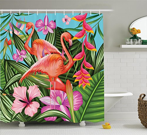 Tropical Christmas Pink Flamingo (Ambesonne Flamingo Shower Curtain, Illustration of Flamingo with Tropical Garden Hibiscus Flower Plant Vintage, Fabric Bathroom Decor Set with Hooks, 70 Inches, Green Pink Blue)
