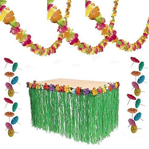 Charmed Luau Tropical Hawaiian Party Decorations - Lei Garland, Grass Table Skirt, 144 Paper Cocktail Umbrellas ()