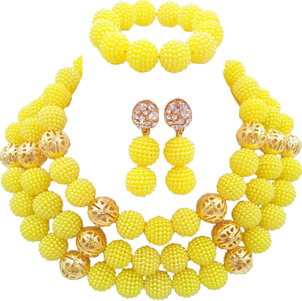 laanc Womens Jewelry Sets 3Rows Pink and Gold Pearls African Bracelet Earrings Wedding 3Rows 18Inch Necklace