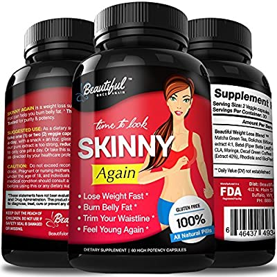 Diet Pills (Skinny Again) 100% Natural, Non-GMO, Gluten Free & Vegan | Appetite Suppressant | Weight Loss Pills that Work Fast for Women & Men | Proven Weight Loss Supplements by Beautiful Once Again