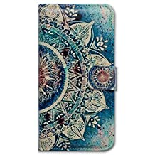Beaucov Packing Bcov Green Circular Mandala Wallet Leather Cover Case For iPhone 5 5S SE