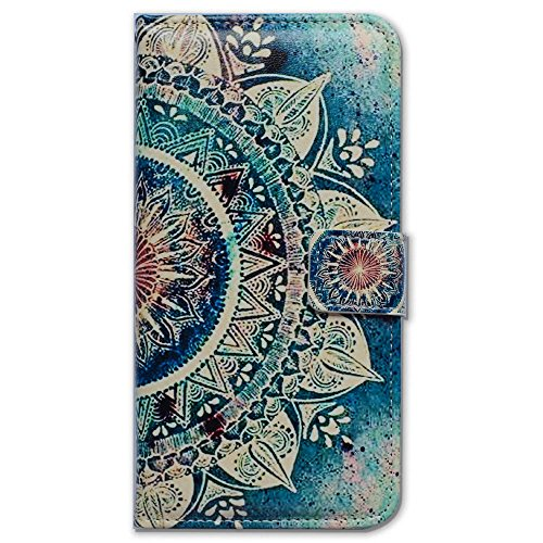 iPhone 6S Case,iPhone 6 Case, Bfun Packing Bcov Green Circular Mandala Card Slot Wallet Leather Cover Case for iPhone 6 6S ()