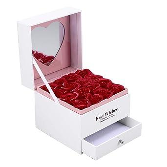 Caja de regalo de San Valentín del cajón del almacenamiento de la joyería de la capa doble con la flor de Rose del jabón 16pcs para la madre y la novia: Amazon.es: