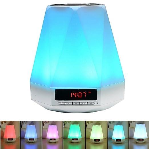 15 opinioni per SOLMORE LED Luce Notturna Allarme Orologio e Bluetooth Speaker ,lampada da