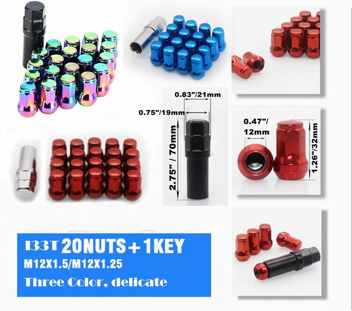20 Pcs Length 32mm with 1 Key Open End Lug Nut Set Universal Auto Colorful I33T Wheel Lug Nuts 12x1.25 M12x1.25 Lug Nut