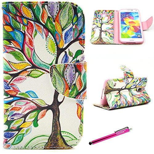 Galaxy S5 Case, Firefish Galaxy S5 Wallet Case [Kickstand] [Bumper] PU Leather Protective Skin Shock Absorption Magnetic Closure for Samsung Galaxy S5 - Color Tree