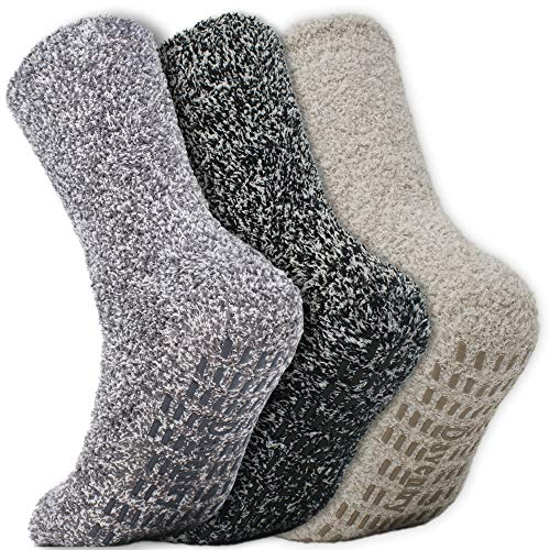 Daventry Ultra Thick Fuzzy Grip Socks 3pk, Non-Skid Slipper Hospital Sock - Fuzzy Socks Men