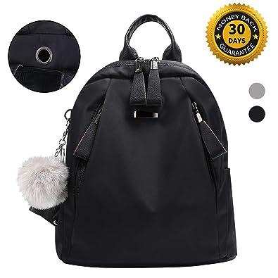 Amazon.com  Women Backpack Purse Nylon Waterproof Anti-theft Rucksack  Shoulder Backpacks Ladies Travel bags(Black)  Shoes 09c6cbea8263c