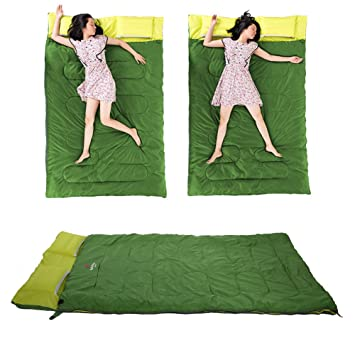Zetiling Saco de Dormir Doble, Saco de Dormir Doble para Exteriores Primavera y otoño Camping Senderismo Saco de Dormir portátil con Almohada