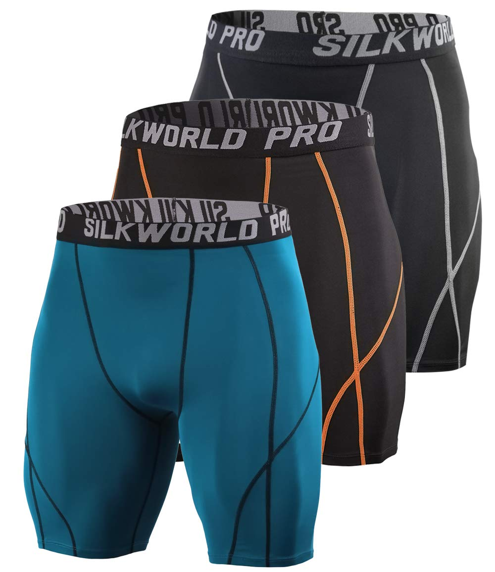 SILKWORLD Men's 3 Pack Running Tight Compression Shorts, Dark Peacock Blue, Black(Orange Stripe), Black(Grey Stripe), L by SILKWORLD