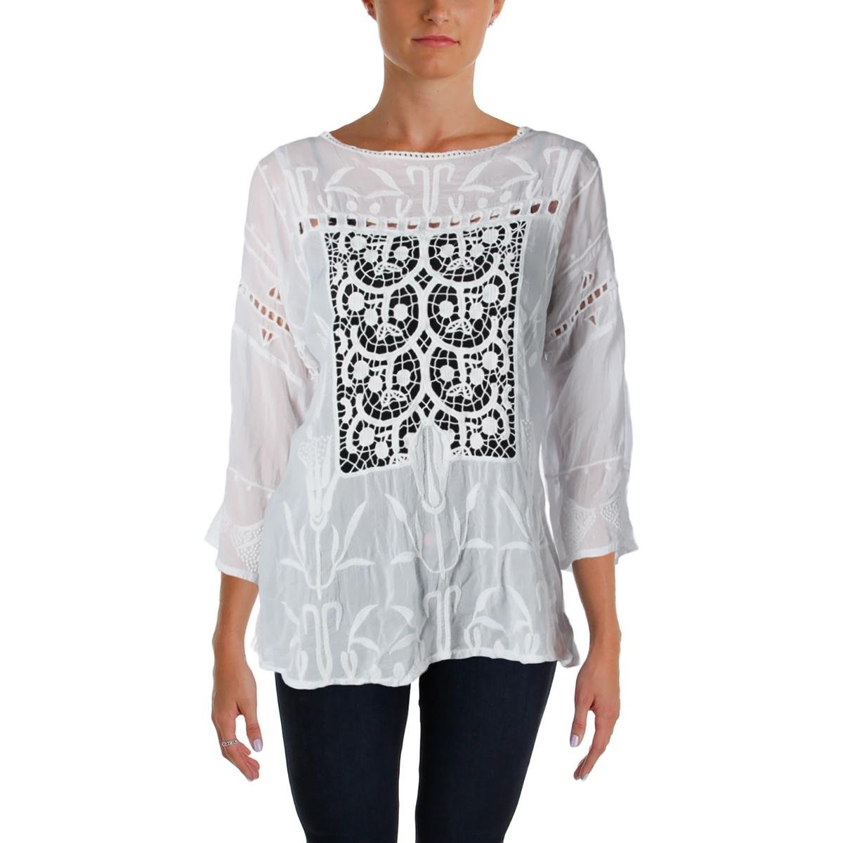 Johnny Was Womens Battenburg Lace Embroidered Casual Top White M by Johnny Was (Image #1)