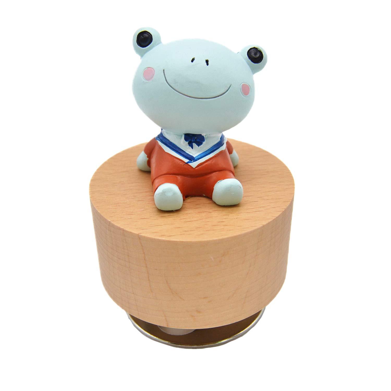 Seevy Wooden Music Box Animal Ornament Wind Up Rotating Music Box Decoration Birthday Present