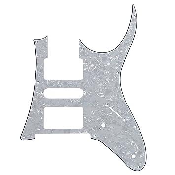 IKN 3Ply 7V Shedding Pickguard para Ibanez RG partes de guitarra, HSH Estilo 9 agujeros con tornillos, perla blanca