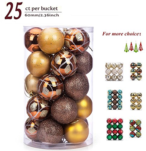 SANNO 25ct Glitter Christmas Balls, Brown Baubles Xmas Gold Shiny Matte Glitter Decorative Hanging Ornament Christmas Seasonal Decorations Ideal for Xmas, Holiday and Party Widgets, 60mm/2.36
