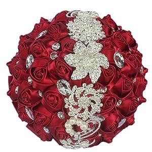 MOJUN Romantic Customization Wedding Bride Holding Bouquet Ribbon Rose Flowers Wedding Bouquet Rhinestone Brooch Decor 26