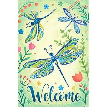 Dragonfly Welcome Garden Flag