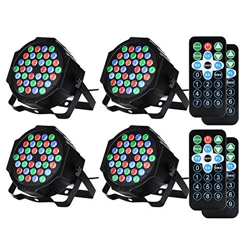 LUNSY 36LED Stage Lights, RGB DJ Par Can Party Lighting, Uplights Indoor for Wedding, Remote and DMX Control, Sound Activated- 4 Pack