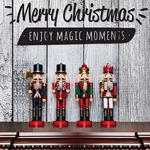 Jusdreen 10.3'' Christmas Nutcracker Ornaments Christmas Day Decoration Xmas Puppet Soldiers - Wooden by Jusdreen (Image #3)