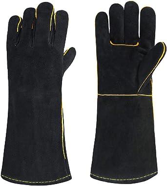 OLSON DEEPAK Welding Gloves HEAT RESISTANT Cow Split Leather BBQ