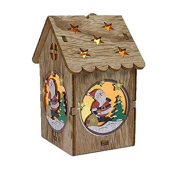 Mayogo Weihnachten Leuchtend Klein Holz Haus Dekoration