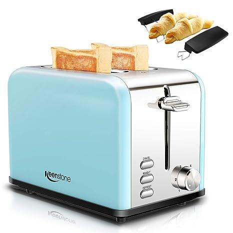 Tostadora de 2 rebanadas, Keenstone tostadora de pan de acero inoxidable con cancelación, recalentamiento, función de descongelación, 6 controles de ...
