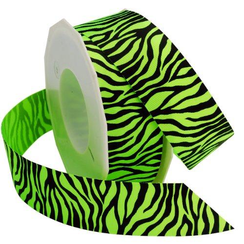 Morex Ribbon Neon Zebra Grosgrain Ribbon, 1-1/2-Inch by 20-Yard, Key Lime (Lime Bright Zebra)