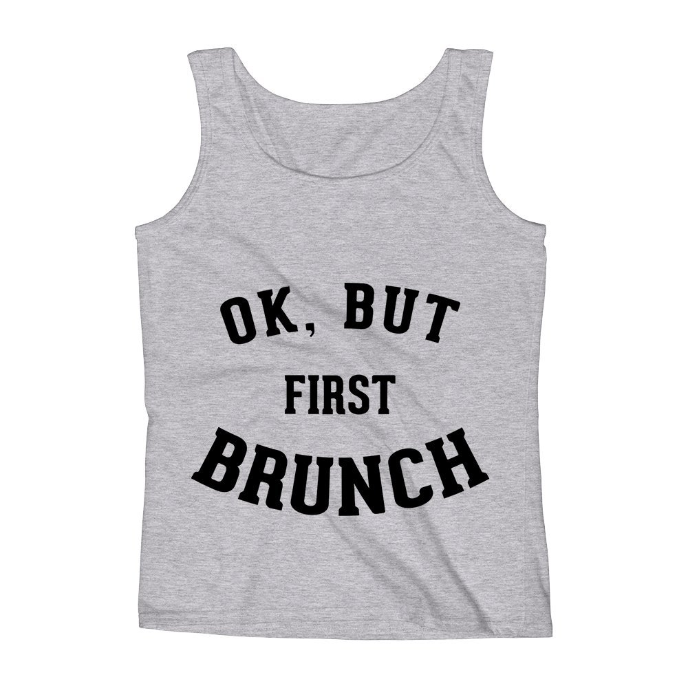 Mad Over Shirts Ok But First Brunch Foodie Hunger Meme Unisex Premium Tank Top
