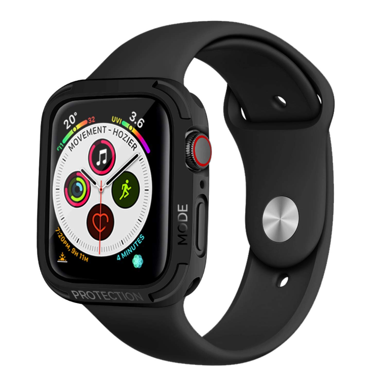 elkson Apple Watch Series 4 5 Bumper case 44mm iwatch Quattro Series Cases Protection Compatible with Apple Watch Durable Military Grade Black TPU Flexible Shock Proof Resist - 44mm Stealth Black by elkson
