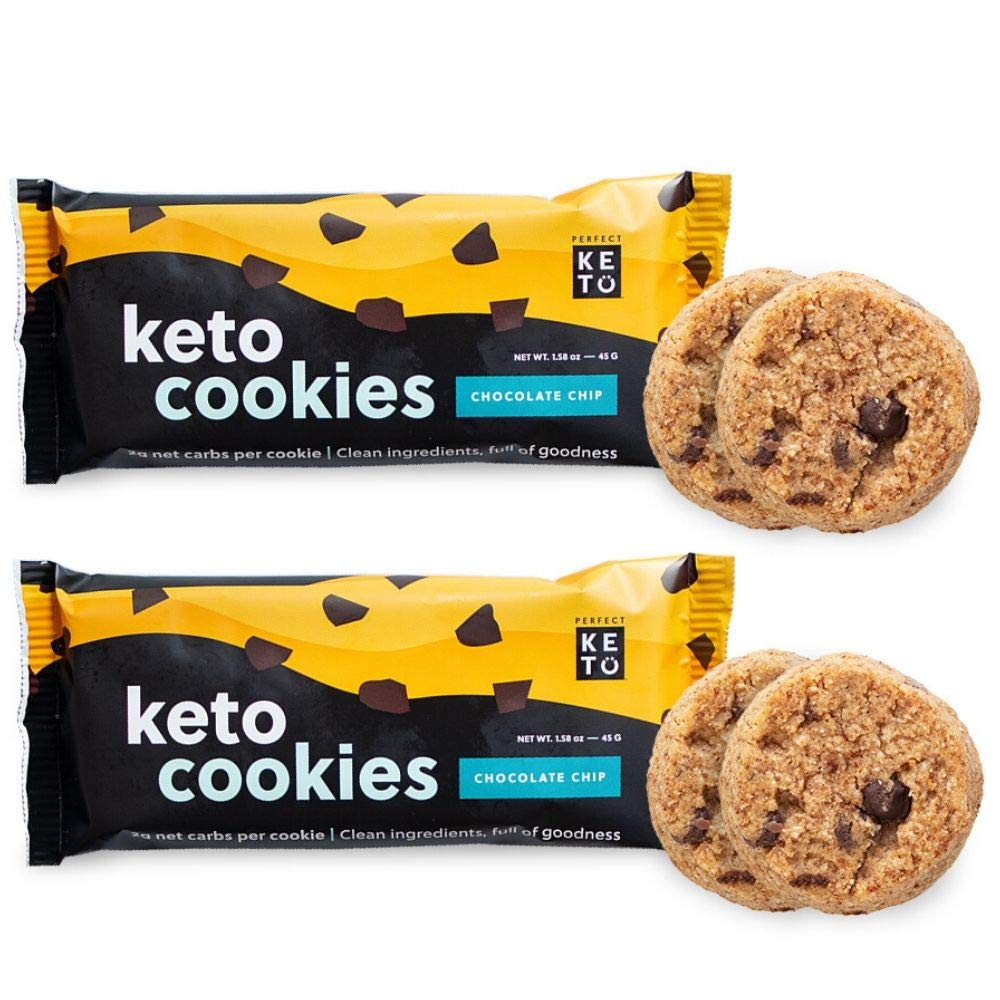 Perfect Keto Cookies - Low Carb Snacks & Sweets, No Added Sugar and Gluten-Free Cookies – Keto Food for Healthy and Keto-Friendly Diet - 12 Pack (24 Count), Chocolate Chip