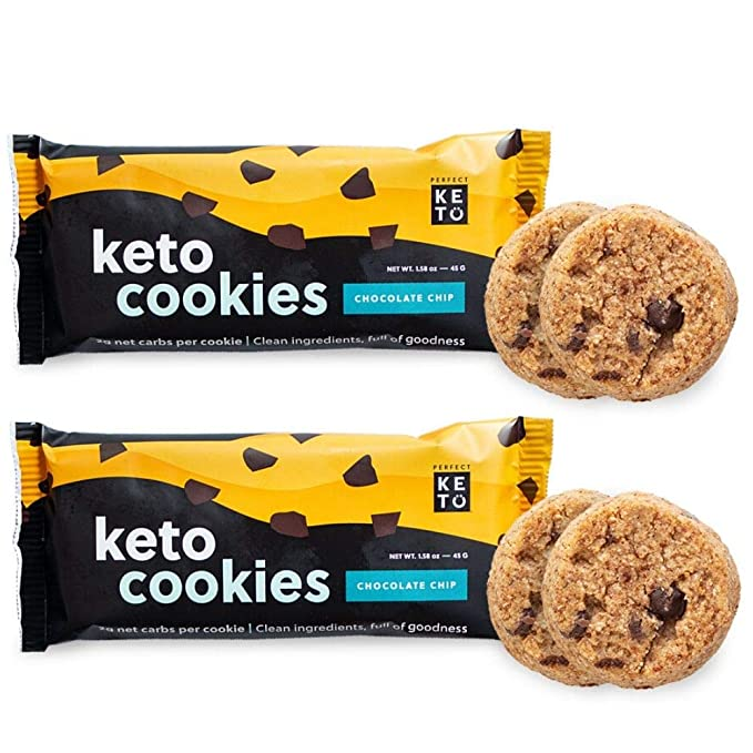 Perfect Keto Cookies - Low Net Carb Snacks & Sweets, No Added Sugar and Gluten-Free Cookies – Keto Food for Healthy and Keto-Friendly Diet - 12 Pack (24 Count), Chocolate Chip: Amazon.com: Grocery & Gourmet Food