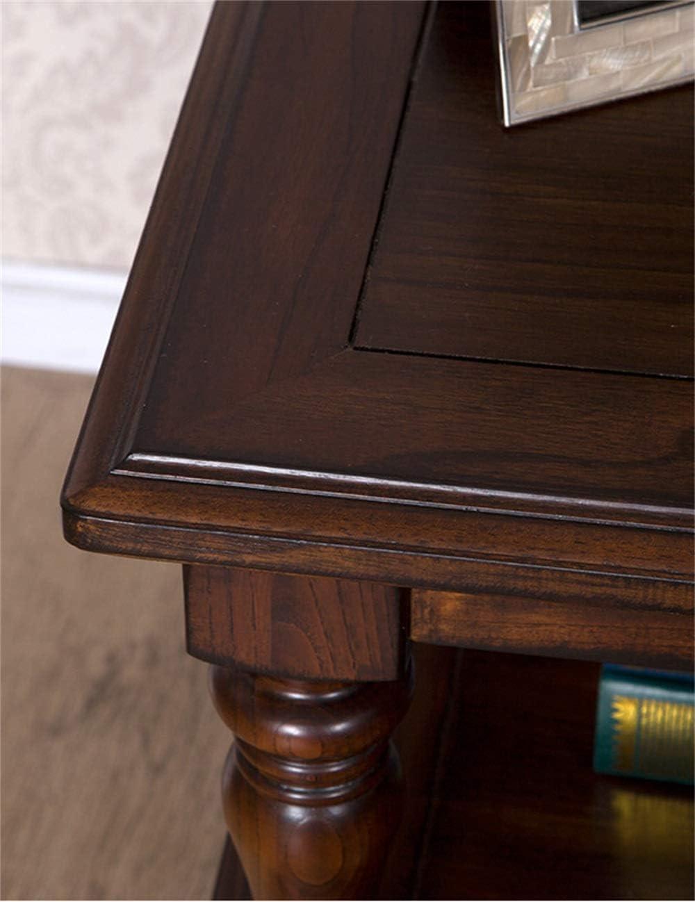 Muebles de Madera Maciza/Mesa de Centro pequeña de Nogal Negro, Lado Cuadrado de Madera Maciza del país Retro, Apto para Dormitorio, Sala de Estar, Estudio: Amazon.es: Hogar