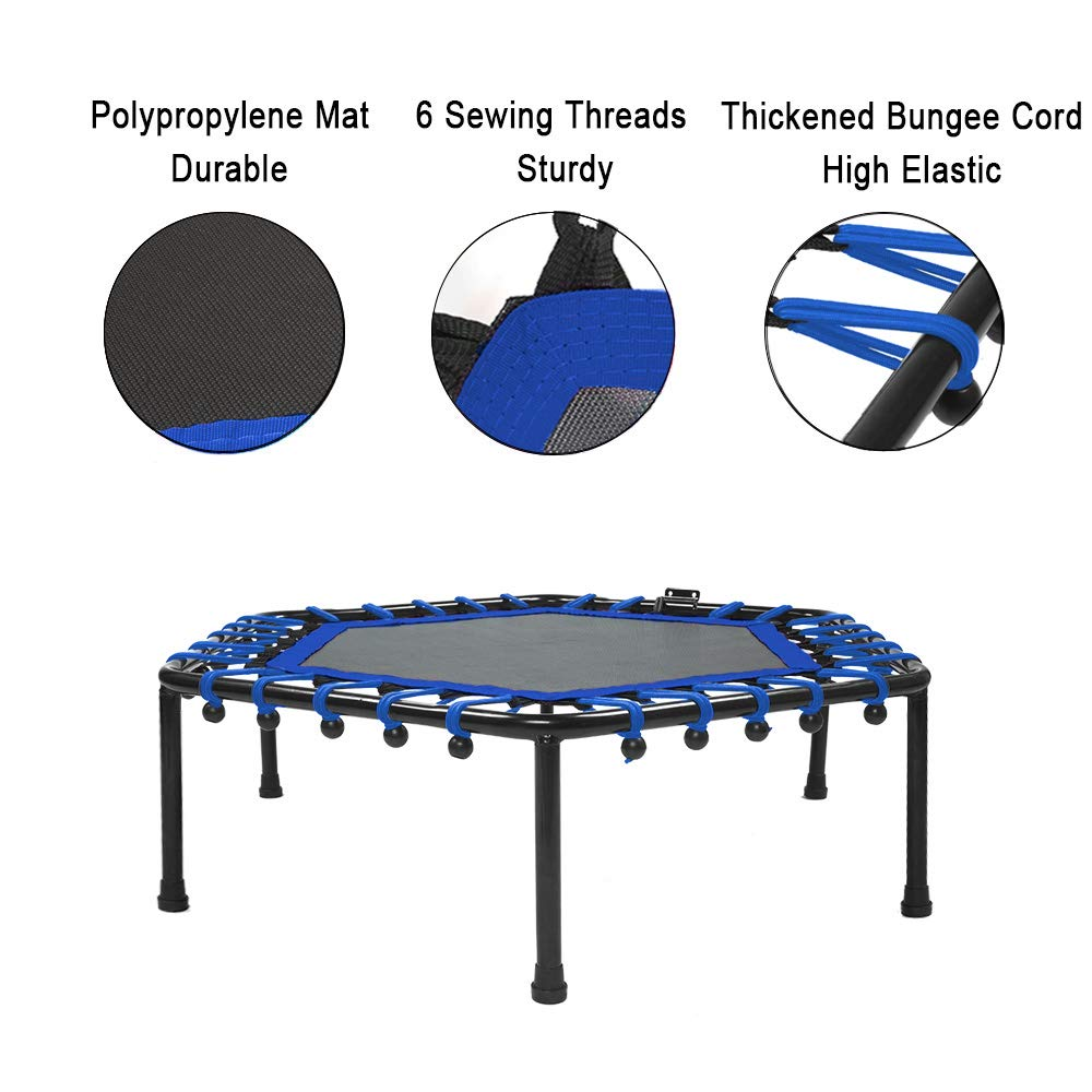 Safly Fun Fitness Trampoline Mini Trampoline with Adjustable Handle Bar, Indoor Trampoline Rebounder for Adults - Exercise Rebounder Home Trainer for Cardio Workout 40'' (Blue) by Safly Fun (Image #4)