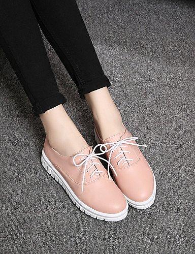 Pisos de us8 blue Casual eu39 azul PDX Jane Mary blanco rosa zapatos de talón plano sintética mujer negro cn39 piel uk6 vaxw4EaqT