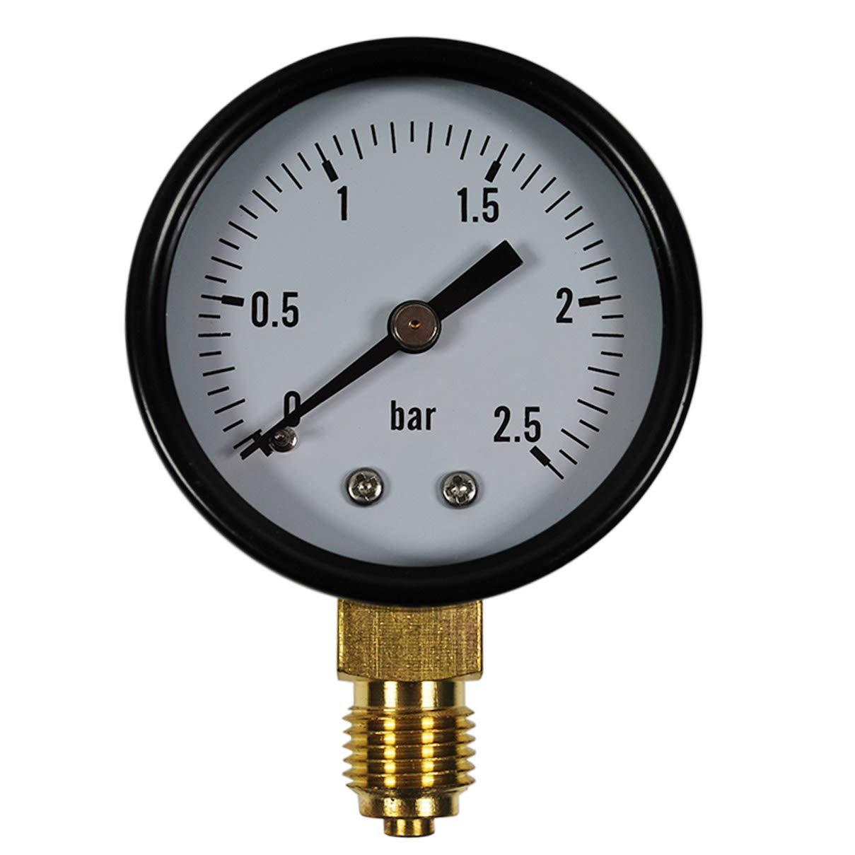 aus Messing im Metallgeh/äuse Druckluft Manometer//Vakuummeter 1//4 Anschluss unten HELO 0-16 bar Manometer senkrecht /Ø 50 mm
