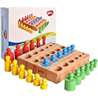 BOHS 6 Knobs Mini Knobbed Cylinder - 6.7 Inches - Colorful Montessori Wooden Early Home School Toy - 4pcs Set- Ages 2.5…