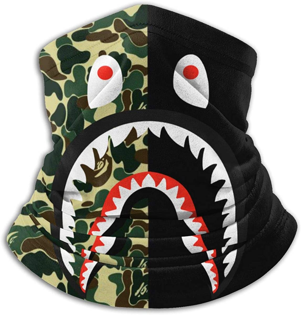 Bape Camo Blood Shark Microfiber Neck Warmer,Sports Face Guards,Windproof Dust Proof Mouth Face Mask Magic Scarf Balaclava