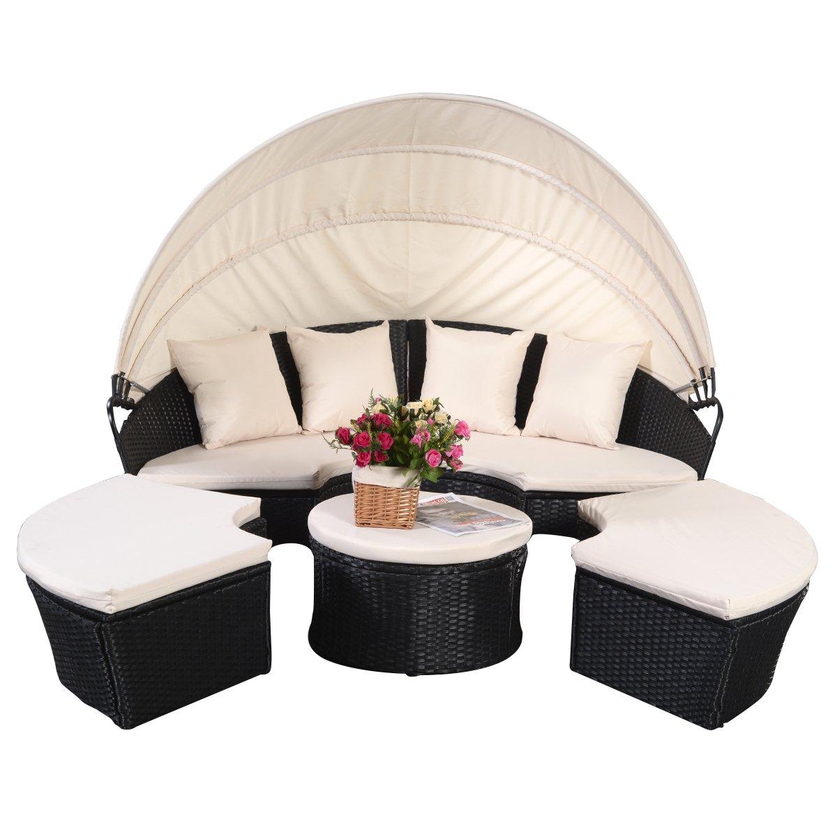 Sonneninsel Poly Rattan Lounge Gartenliege Sonnenliege Gartenmöbel ...