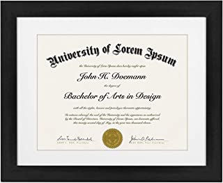 product image for flag connections 11x14 Black Diploma Frame | Displays 8.5x11 Diplomas with Mat or 11x14 Inch Without Mat (1pack)