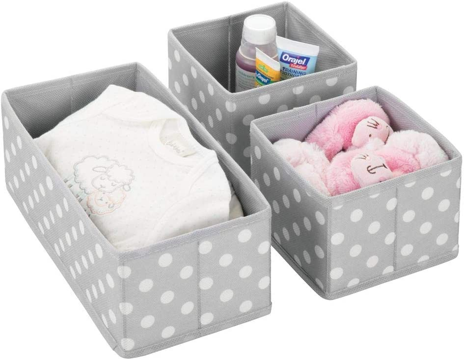 Wipes Girls Nursery Diapers Set of 3 mDesign Soft Fabric Dresser Drawer Polka Dot Print Closet Storage Organizers for Child//Kids Room Baby Clothes Playroom Pink//White Onsies Holds Boys